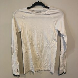 Forever 21 White Ribbed Active Long Sleeve Top